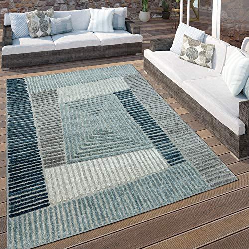 Paco Home In- & Outdoor Terrassen Teppich Geometrisches Design Pastell Türkis Grau Creme, Grösse:120x170 cm