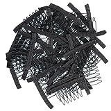 de acero inoxidable 40 piezas de peine envuelto peines para peluca Glueless peluca clips (negro)