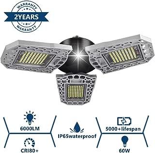 Garage Light, SONATA LED Garage Lights E26 Base Deformable 6000LM 60W Garage Lighting, Ultra-Bright LED Shop Light Ceiling Lights IP65 LED Security Light for Garage, Shop, Supermarket(1 Pack)