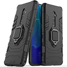 Compatible with OPPO Reno 10X Zoom Case, Metal Ring Grip Kickstand Shockproof Hard Bumper Shell (Works with Magnetic Car Mount) Dual Layer Rugged Cover for OPPO Reno 10 X Zoom (Black)