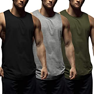 Mens Workout Tank Tops 3 Pack Sleeveless Shirts Gym Bodybuilding Muscle Tee Shirts