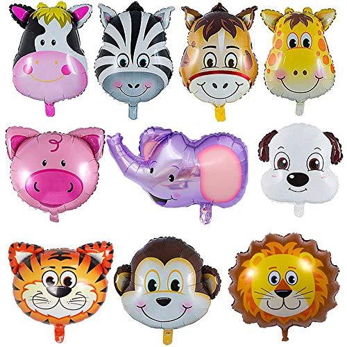 YIKEF Globo de Aluminio Animal, 10 Piezas Globos Animales Cumpleaños, Globos Animales Helio - Helio está Permitido, Decoración de la Fiesta de Cumpleaños de los Niños