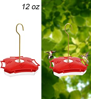 Juegoal 12 oz Hanging Hummingbird Feeder with Four Feeding Ports