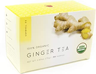KAZ 100% Certified Organic Ginger Root Tea, 100 teabags VALUE PACK (100 teabags, (50 teabags x 2 boxes))