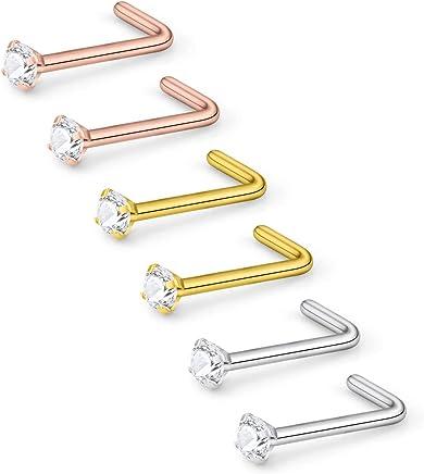 Lcolyoli 20G Surgical Steel Nose Rings L-Shaped Bone Screw Studs Pin Clear Diamond CZ 1.5MM 2MM 2.5MM 3MM for Women Men Body Piercing Set