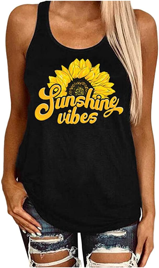 AODONG Plus Size Tank Tops for Women Sleeveless Crop Top Fashion Sunflower Printed Shirts Blouse Casual Tee Cami Shirts