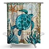 Imonet Sea Turtle Ocean Animal Landscape Shower Curtain for Bathing Room with Metal Grommets and Hooks Waterproof 72 x 72 Inches