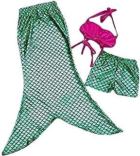 Lovelegis Traje de baño – Sirenita – apto para niña – Color verde – Compuesto por top corto – cola abierta