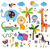 Crazy Jungle Animals Baby/Nursery Wall Sticker Decals for Boys and Girls