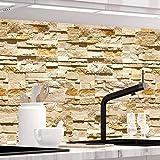 StickerProfis Küchenrückwand selbstklebend Premium STEINWAND Ashlar 1.5mm, Versteift, alle Untergründe, Hartschicht, 60 x 400cm