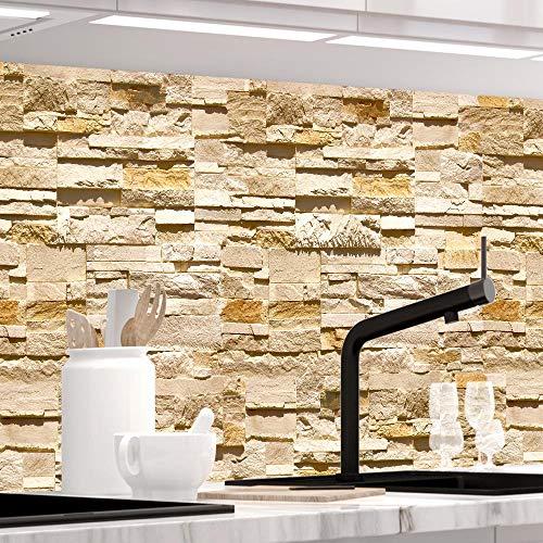 StickerProfis Küchenrückwand selbstklebend - STEINWAND Ashlar - 1.5mm, Versteift, alle Untergründe, Hart PET Material, Premium 60 x 220cm