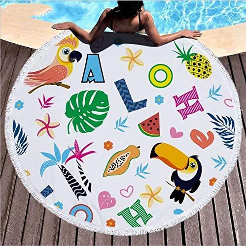 Toalla De Playa Microfibra Creativa Estampado De Abecedario Animal Toalla De Baño Grande Alfombra De Picnic Alfombra De Yoga Mantilla De Protección Solar Con Manta De Playa Con Borla 150X150Cm