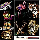 Scratch Art Rainbow Painting Paper Animal(A4), DIY Crafts Womens Hobbies, Engraving Art for Kids & Adults Scratch Painting Easter & Christmas Birthday Creative Gift Set: 8 Sheets (Animal Series)