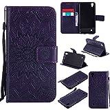Guran® Funda de Cuero para LG X Power Smartphone Función de Soporte con Ranura para Tarjetas Flip Case Cover-púrpura