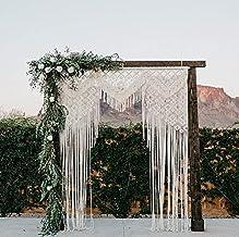 wedding arch wall knot headboard bohemian curtain wallknot Wedding macrame backdrop with 2 chair backs