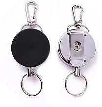 RETYLY Lot 1 Porte Badge Enrouleur Porte cle retractable mousqueton clip ceinture Carte ID Card Holder-Noir