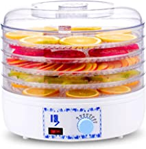 Fruit Dryer,Adjustable Temperature 35 to 75°C Multi Function Dryer for Fresh and Dried Fruits Vegetables 5 Tray Overheat P...
