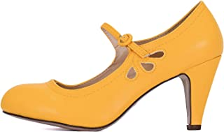 Guilty Heart Womens Mary Jane Chunky Heel Pumps - Comfortable Mid Kitten Heel Shoe with Ankle Strap