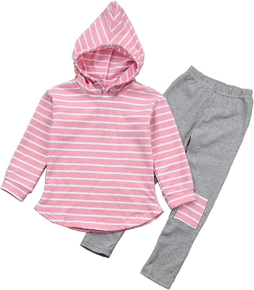 Toddler Kids Girl Striped Max 70% OFF Selling rankings Long Fall Pants Outfits Hoodie Sleeve