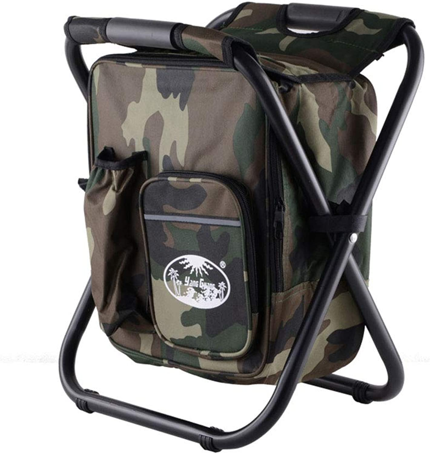 Double Shoulder Strap Portable Folding Chair  Multifunctional Insulation Package Folding Stool  Step Slacker Stool Camping Folding Chairs Outdoor,Camouflage