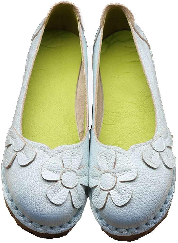 Luobote Women Moccasin Loafer Vintage Floral Genuine Leather Soft Driving Ballet Flat