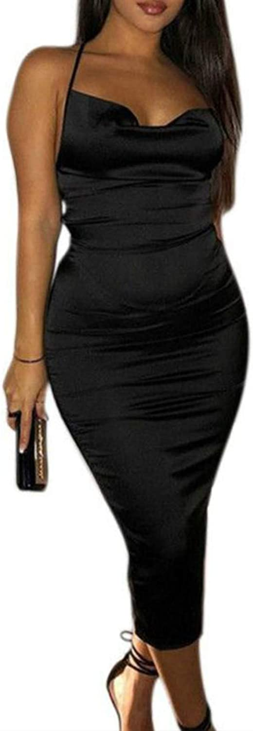 JUMISEE Women Neon Satin Sexy Bodycon Elegant Backless Long Midi Dress for Cocktail Party Clubwear