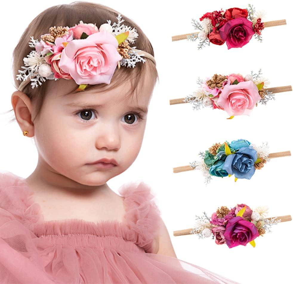 Wiwpar Flower Crown Headband Flower Headwear Elastic Adjustable Head Piece Girl's Hairbands for Toddler and Childrens (Blue)