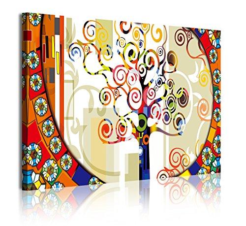 DekoArte 303 - Quadri Moderni Stampa di Immagini Artistica Digitalizzata | Tela Decorativa per Soggiorno o Stanza da Letto | Stile Astrazioni Albero della Vita Gustav Klimt Gialle| 1 Pezzo 120x80cm