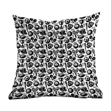DKISEE Linen Blend Decrotive Pillow Covers Sport, Monochrome Trophy Baseball Glove Ping Pong Ball Sketch Style Bat Tournament Inspired, Black White, Decorative Square Cushion Cover Brown 26x26 inches