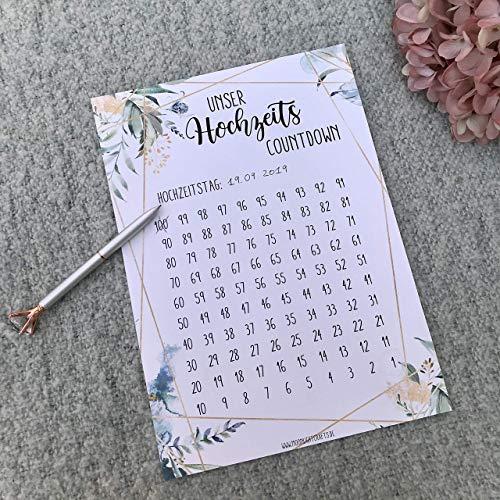 Hochzeitscountdown, Verlobungsgeschenk, Hochzeit Kalender, 100 Tage bis Hochzeit, Geschenk für Brautpaar, Boho, Eukalyptus