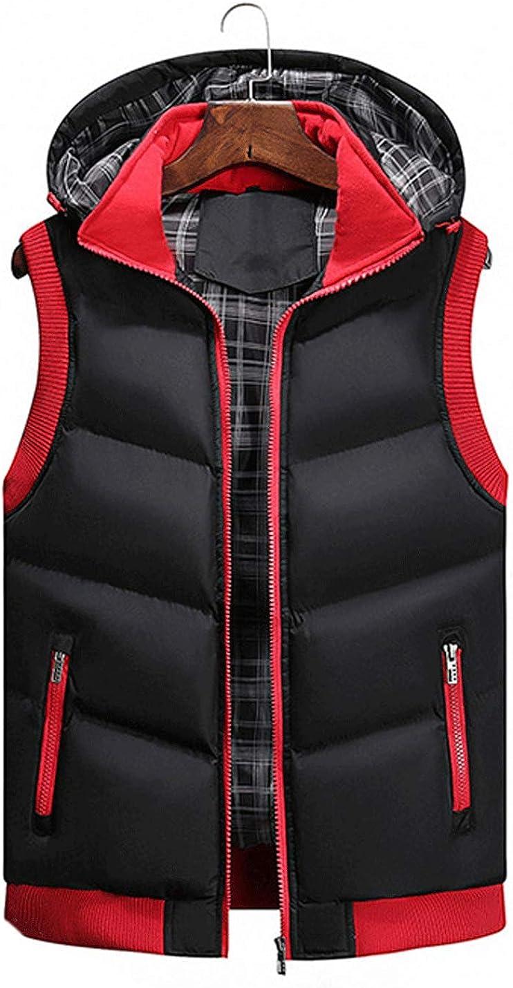 D.B.M Men's Classic Sleeveless Contrast Color Zipper Hooded Warm Down Vest