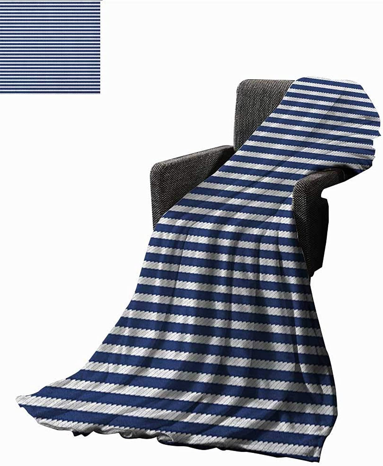 WilliamsDecor Bed or Couch 60  x 35 Navy bluee Lightweight Blanket Yacht Navy Marine Themed Rope Stripe Pattern on Dark bluee Background Print Summer Quilt Comforter Navy bluee and White