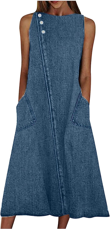 Wuztai Womens Dresses Round Neck Sleeveless Button Denim Blue Dress Fashion Casual Loose Summer Long Dress