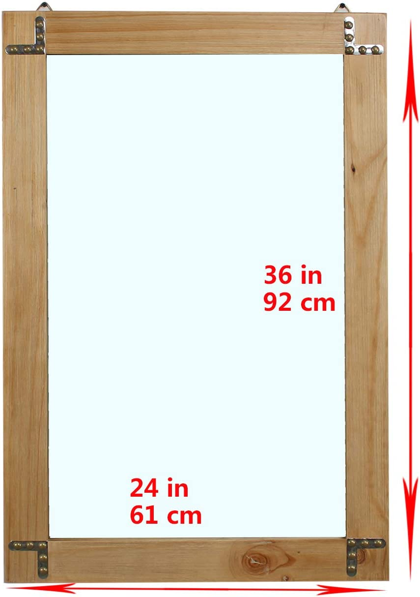 Buy Womio Rustic Bathroom Mirrors For Wall 24 X 36 Wood Frame Hanging Decorative Wall Mirror Vanity Mirror Makeup Mirror Natural Color Online In Germany B087bsbbp5