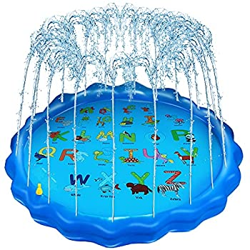 """Bristory Kids Sprinkler Splash Pad Water Play Mat Spray Pool Outdoor Inflatable Water Toys 68"""" for 1-10 Years Boys and Girls"""