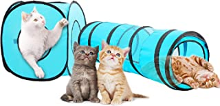 PAWISE Cat Play Tunnel, Pop Open Collapsible Cube Tunnel Play Set for Cats and Rabbits