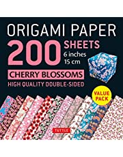 "Origami Paper 200 Sheets Cherry Blossoms 6"" (15 CM): Tuttle Origami Paper: High-Quality Double Sided Origami Sheets Printed with 12 Different Designs (Instructions for 6 Projects Included)"