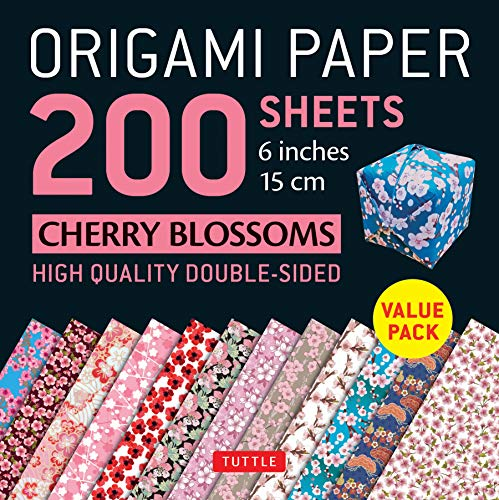 Origami Paper 200 sheets Cherry Blossoms 6 inch (15 cm): High-Quality Origami Sheets Printed with 12 Different Colors (Instructions for 8 Projects Included) (Origami Paper Pack)