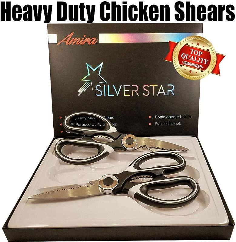Kitchen Shears Scissors Heavy Duty Stainless Steel Multi Purpose Sharp Chicken Ultrasharp Premium 2 Set