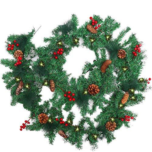 BELLE VOUS Guirnalda Navidad Preiluminada - 2,7 m Guirnalda Verde Navidad Artificial con Conos de Pino y Bayas Rojas 10 Luces LED Amarillo Cálido - Pasamanos, Interior, Exterior - Decoración Hogar