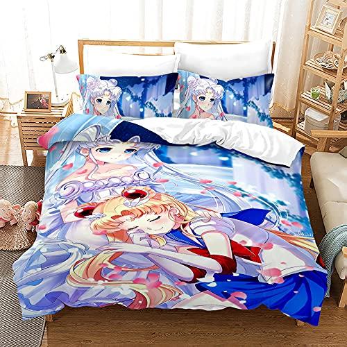 Ropa De Cama Infantil Sailor Moon Funda Nordica 135X200 Cm + 2 Fundas De Almohada 50X75 Cm con Cremallera Super Suave Confortable Microfibre Juego De Cama