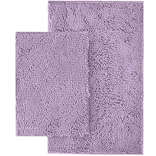 LuxUrux Bathroom Rug Set–Extra-Soft Plush Bath mat Shower Bathroom Rugs,1'' Chenille Microfiber Material, Super Absorbent (Rectangular Set, Lavender)