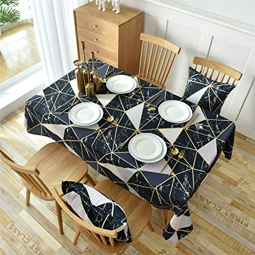 CCBAO Poliéster Triángulo Blanco Y Negro Impresión Rectangular Hogar Impreso Mantel Cuadrado Hotel Café Mantel Mantel Mantel 135x300cm