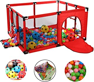 HH- Baby Playpen with Football Box Crawling Mat Indoor Children s Game Fence Baby Crawl Toddler Fence Activity Center Safety Play Yard  Color Red