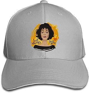 Whitney Houston Hip Hop Baseball Cap Golf Trucker Baseball Cap Adjustable Peaked Sandwich Hat Black Unisex Casquette White