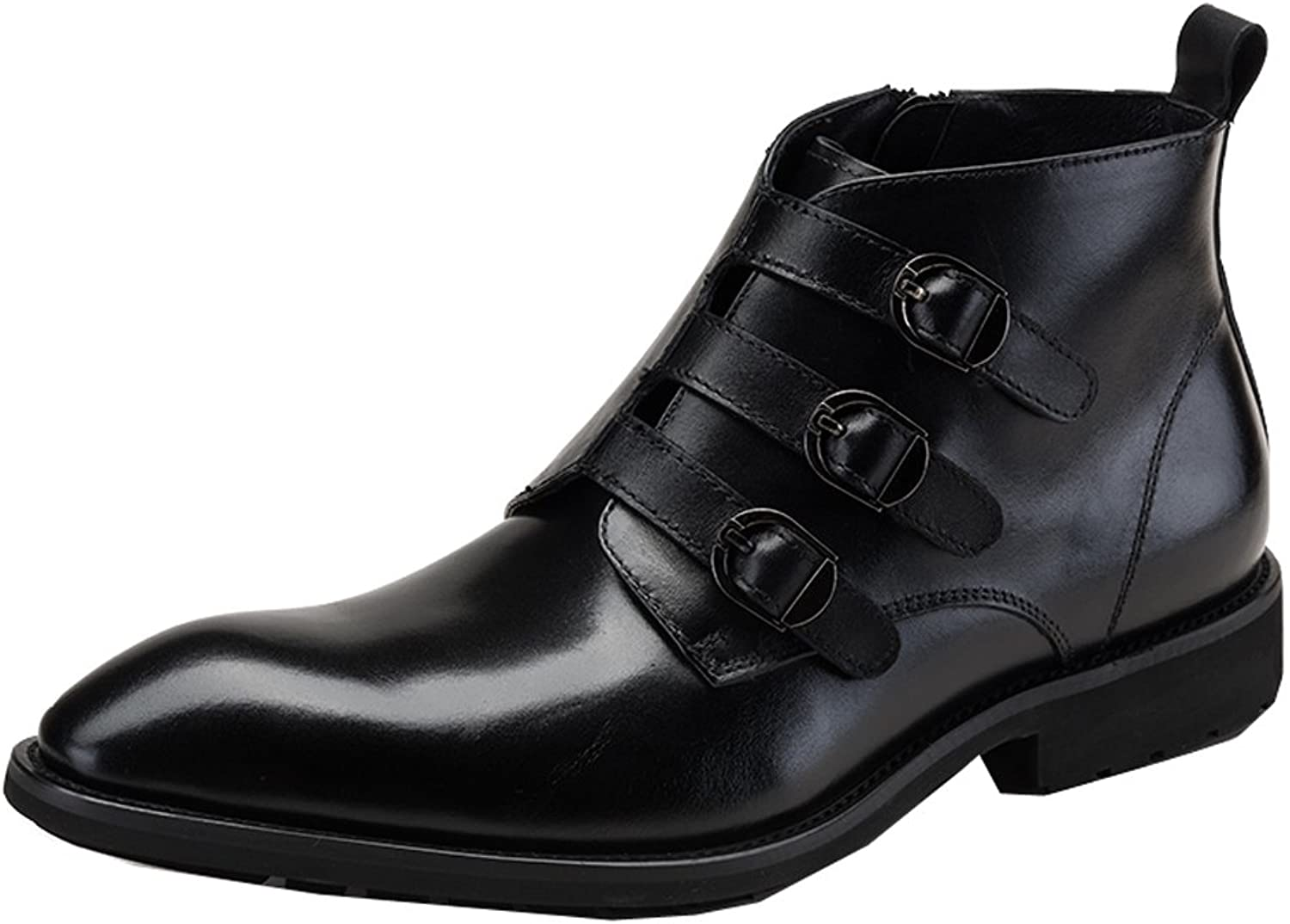 MedzRE Men's Buckle Closure Side Zip Work Leisure Boots in Leather