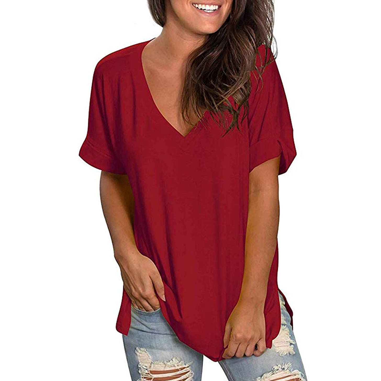 Nadition Summer Loose T-Shirt ? Women Simple Solid V Neck Short Sleeve Shirt Casual Comfy Tee Shirt Tops Blouse