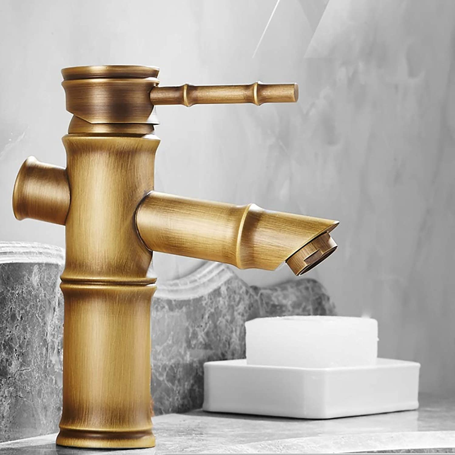 MWPO Vintage Retro Brass Antique Nostalgic Faucet Retro All Brass Faucet Hot and Cold Bamboo Faucet (color  A)