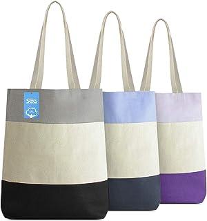 حقائب قماشية قابلة لإعادة الاستخدام مصنوعة من القطن بنسبة 100% من سيمبلي جرين سولوشنز مصنوعة من القطن بنسبة 100%، ثلاثية ا...