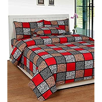 KS21 Homes 3D Printed Poly Cotton Double Bedsheet with 2 Pillow Covers (Red)